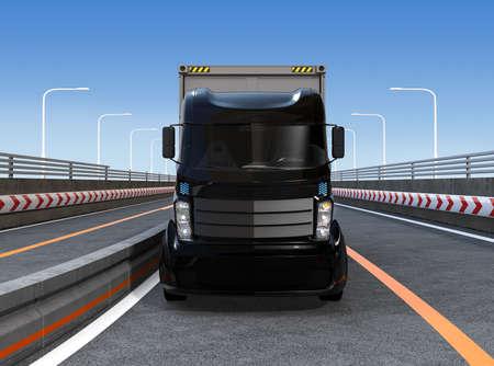 高速道路で黒コンテナ トラック。3 D レンダリング イメージ。 写真素材