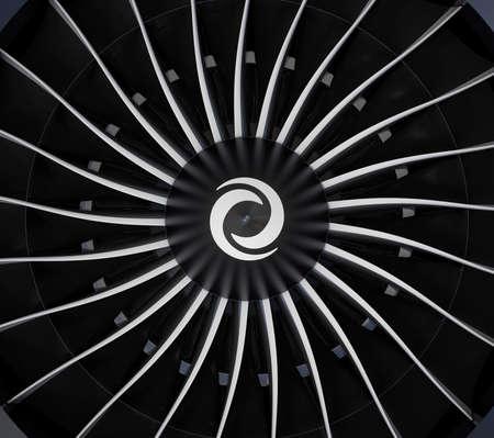aereo: Primo piano del ventilatore jet pale del motore turbo. 3D rendering di immagini. Archivio Fotografico