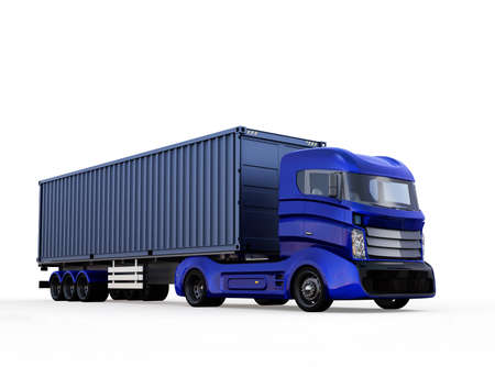白い背景に分離された青のコンテナ トラック。