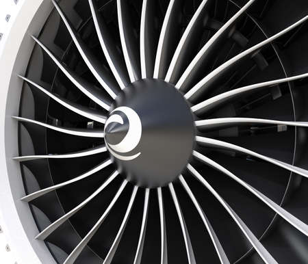 Close-up of jet fan engine turbo blades. 3D rendering image.