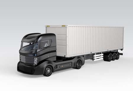 黒いコンテナー トラック灰色の背景に分離されました。3 D レンダリング イメージ。 写真素材