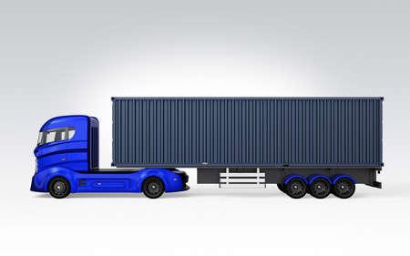 Seitenansicht des blauen Container-LKW auf grauem Hintergrund. 3D-Rendering-Bild mit Clipping-Pfad.