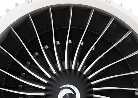 intake: Close-up of jet fan engine turbo blades. 3D rendering image.