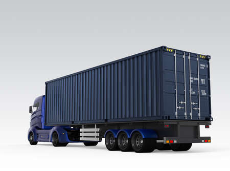 Rear view of blue container truck isolated on gray background. 3D rendering image