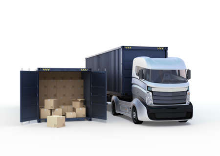 Truck and opened cargo container. 3D rendering image.