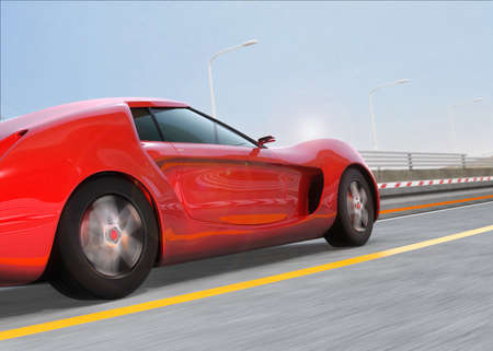 super car: Red sports car on the highway. 3D rendering image.