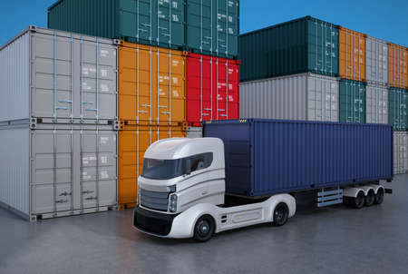 container port: White truck in container port. 3D rendering image. Stock Photo