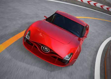 red sports car: Red sports car on the highway. 3D rendering image.