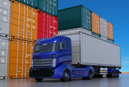 container port: Blue truck in container port. 3D rendering image.