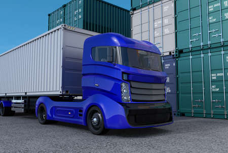 Blue truck in container port. 3D rendering image.