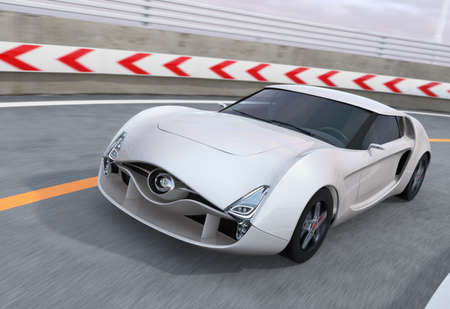car driving: White sports car on the highway. 3D rendering image.
