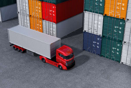 Red truck in container port. 3D rendering image.