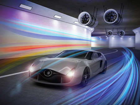 Silver sports car  with colorful light trails in the tunnel. 3D rendering image.