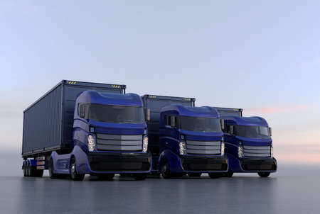 trucker: Blue container trucks arranged in line. 3D rendering image.