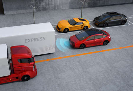 semi automatic: Automatic braking system concept. 3D rendering image.