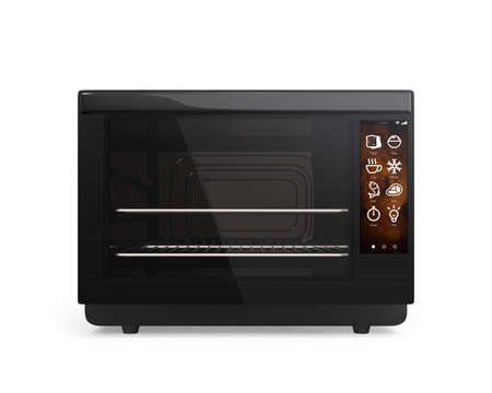 touch screen: Front view of electric oven with touch screen. 3D rendering image with clipping path. Stock Photo