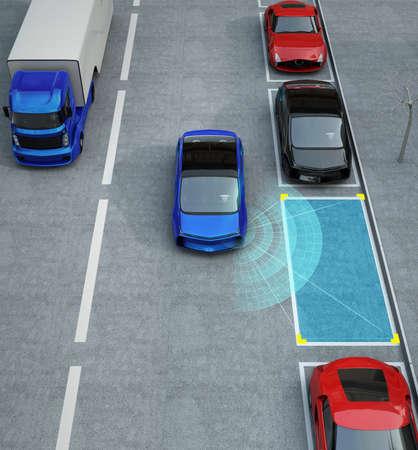 駐車アシストシステムで駐車場に運転する青い電気自動車。3D レンダリング イメージ。