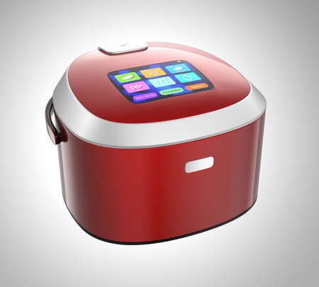 cooker: Rice cooker with touch screen which can control rice cooking mode. 3D rendering image with clipping path. Stock Photo
