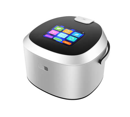 cooker: Rice cooker with touch screen which can control rice cooking mode. 3D rendering image