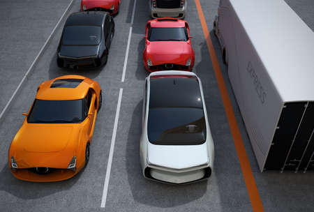 semi automatic: Traffic jam in the street. 3D rendering image.