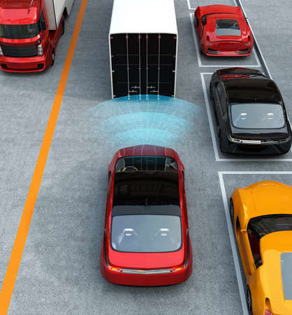 Automatic braking system concept. 3D rendering image.