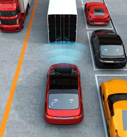 car brake: Automatic braking system concept. 3D rendering image.