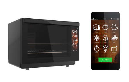 touch screen: Electric oven and smart phone isolated on white background. Using smart phone app could link to the oven. 3D rendering image with clipping path.