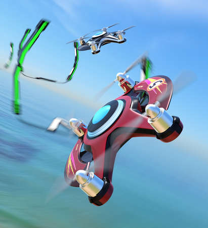 Racing drones chasing in the sky. 3D rendering image. Stock Photo