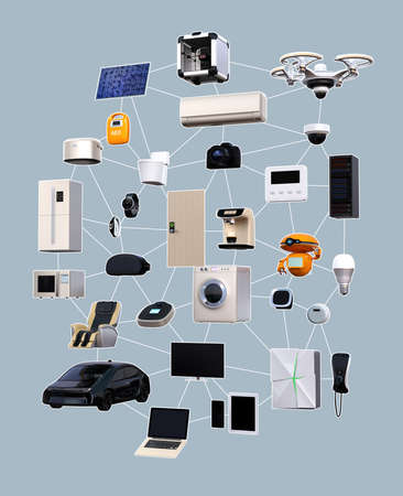 consumer products: Internet of Things concept for consumer products. 3D rendering image. Stock Photo