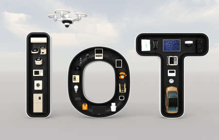 wireless network: Smart appliances in word IoT. Internet of Things concept for consumer products. 3D rendering image.