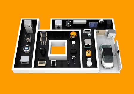 「IoT' としてレイアウトでスマート家電は。物事のインターネットの消費者製品のコンセプトです。3 D レンダリング イメージ。