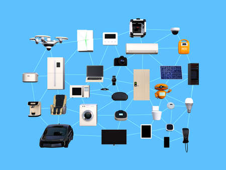 Internet of Things concept for consumer products. 3D rendering image. Banque d'images