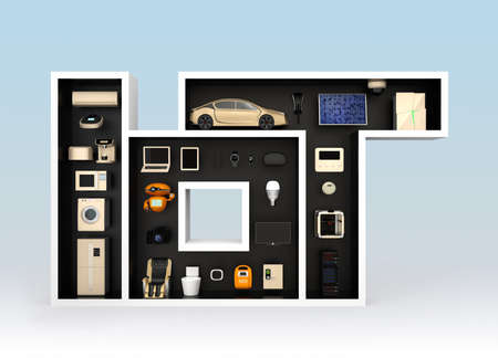 Smart appliances in layout as IoT. Internet of Things concept for consumer products. 3D rendering image.
