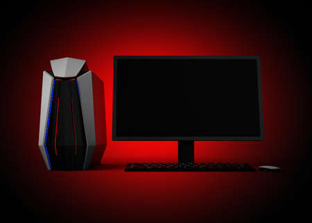 gaming: Gaming computer isolated on red background. 3D rendering image.