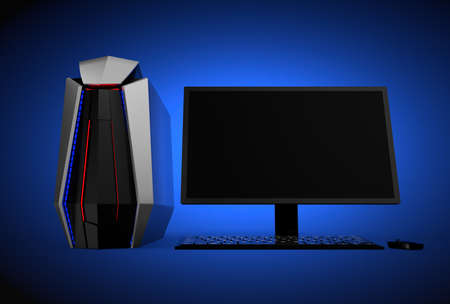 gaming: Gaming computer isolated on blue background. 3D rendering image.