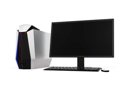 gaming: Gaming computer isolated on white background. 3D rendering image
