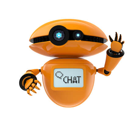Orange robot isolated on white background. 3D rendering image Imagens