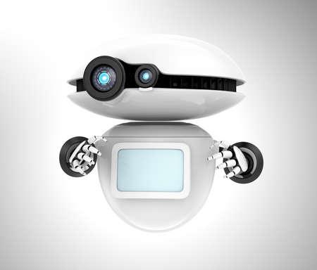 灰色の背景に分離された空白のモニターを持つ白いロボット。3 D レンダリング画像 写真素材
