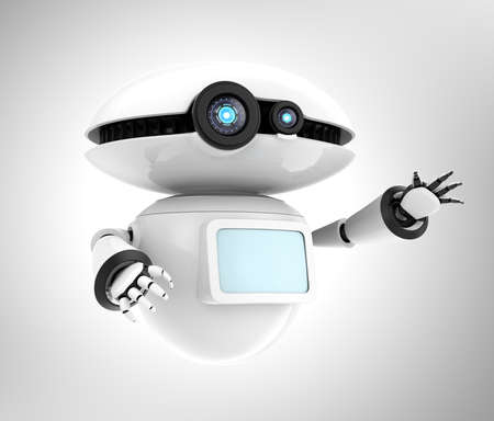 White robot with blank monitor isolated on gray background. 3D rendering image