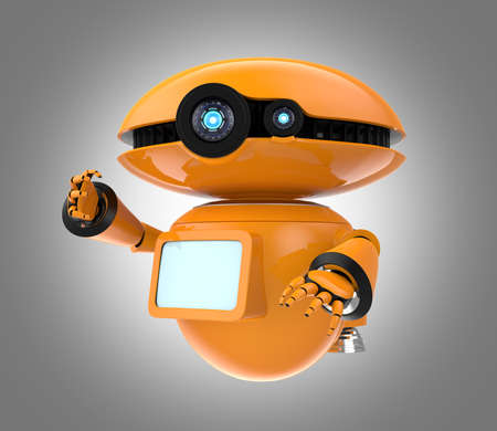 Orange robot isolated on gray background. 3D rendering Imagens