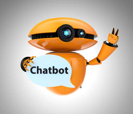 Orange robot holding chat bubble with Chatbot text. 3D rendering image Фото со стока