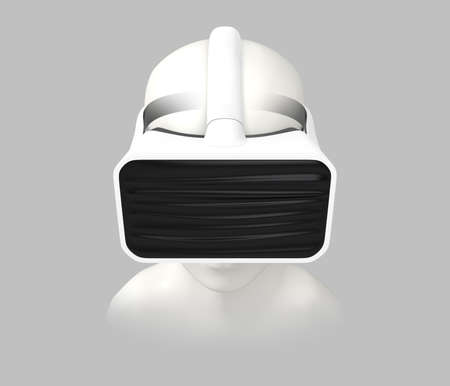 3d cg: Front view of CG model wearing VR headset isolated on gray background. 3D rendering image. Stock Photo