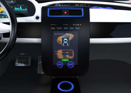 customize: Electric vehicle center console concept. User sign in to the account that could customize the setting for him. 3D rendering image.