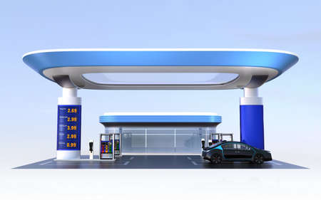 recharging: Contemporary EV charging station and gas station design for new energy supply concpet. 3D rendering image. Stock Photo