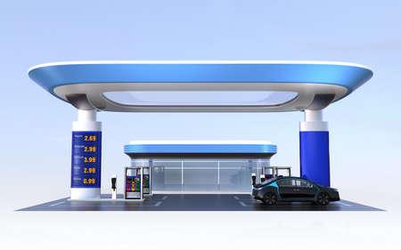 Moderne EV Ladestation und Tankstelle einen Entwurf für neue Energieversorgung concpet. 3D-Rendering-Bild.