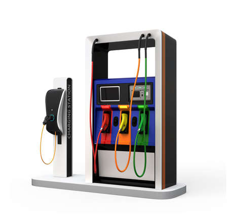 fueling pump: EV charging station and gas station isolated on white background. 3D rendering image with clipping path. Stock Photo