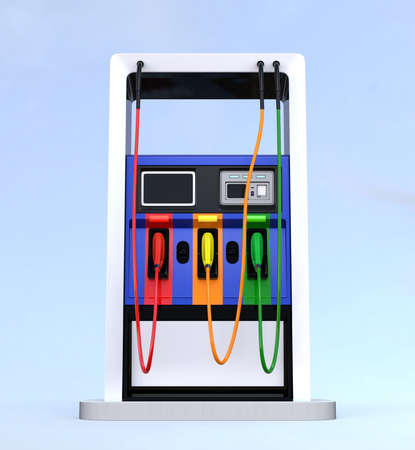 industrial vehicle: Front view of modern fuel dispenser isolated on light blue background. 3D rendering image with clipping path.