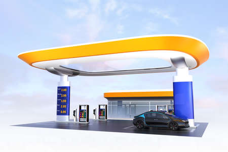 Contemporary EV charging station and gas station design for new energy supply concpet. 3D rendering image. Foto de archivo