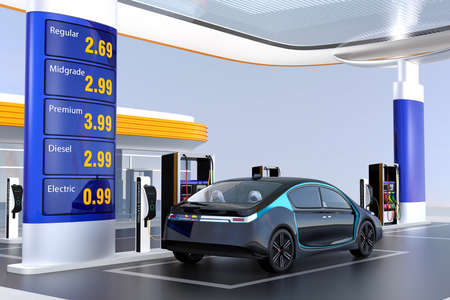 Electric vehicle charging at charging station. The station also supply petrol and diesel. 3D rendering image.
