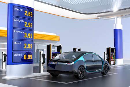 Elektrische auto opladen in laadstation. Het station leveren ook benzine en diesel. 3D-rendering afbeelding.